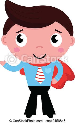 superhero, isolato, capo, uomo affari, bianco, cartone animato, rosso - csp13458848