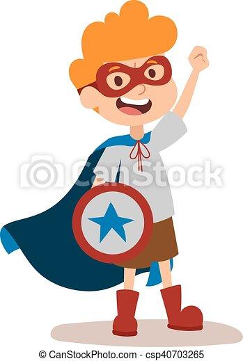superhero kid boy cartoon vector illustrationt super clip art rh canstockphoto com