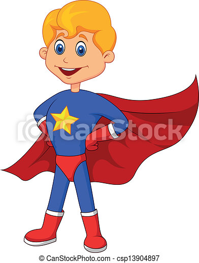 Superhero kid cartoon - csp13904897