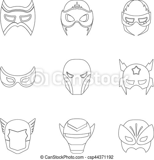 Superhero Mask Set Icons In Outline Style Big Collection Of