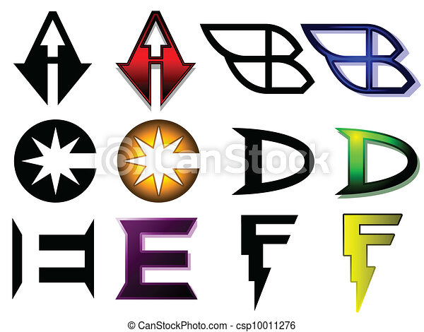 Superhero Or Athletics Symbols A Set Of 6 Letters In Generic