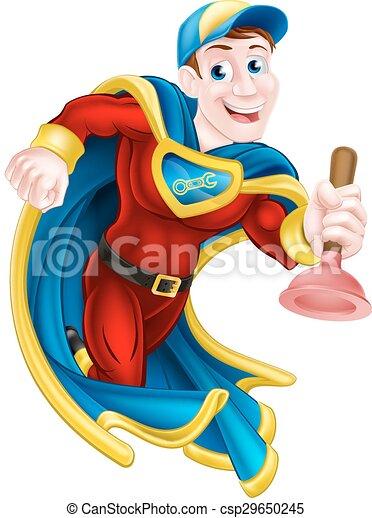 Superhero Plunger Man - csp29650245