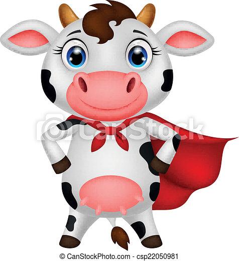 Dibujos de la vaca súper héroe posando - csp22050981