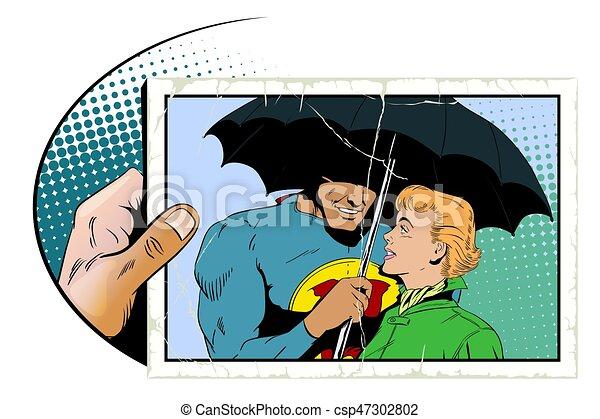 Line Art Illustration Style : Superhero saves girl from rain. a hero holds an umbrella vector