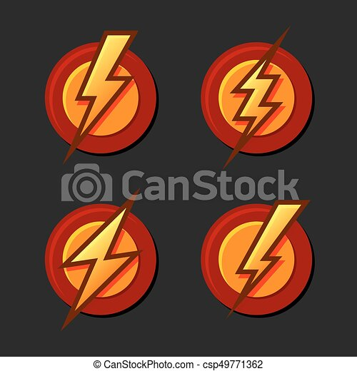 Superhero Sign With Lighting Bolt Icons Set Vector Illustration