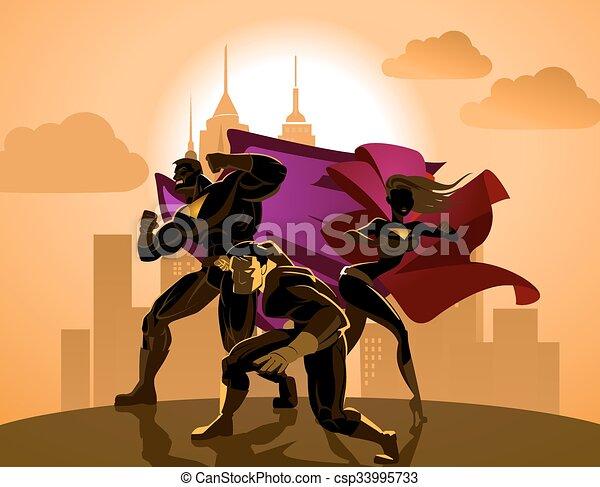 superhero, team;, light., proposta, squadra, fronte, superheroes - csp33995733