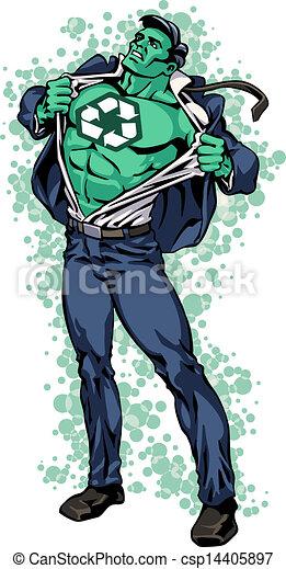 superhero turning green eco man superhero is opening shirt and