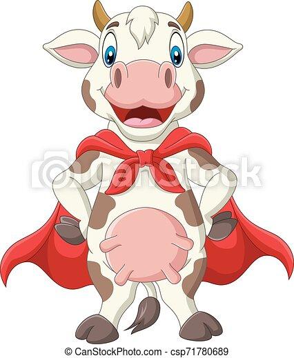 Vaca de superhéroes en capa roja posando - csp71780689