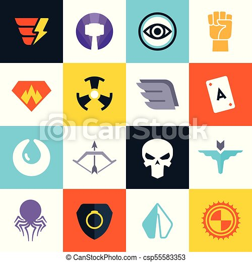 Superhero Vector Badges With Super Weapons Superheroes Symbols