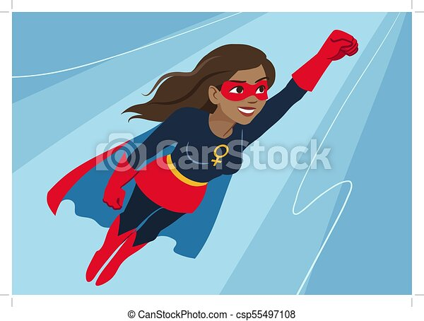 Superhero woman in flight. Attractive young African American woman wearing superhero costume with cape, flying through air in superhero pose, on sky background. Flat contemporary style vector element - csp55497108