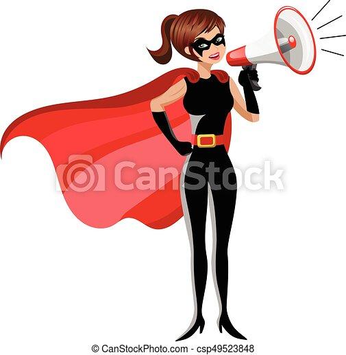 Superhero woman standing speaking megaphone isolated - csp49523848
