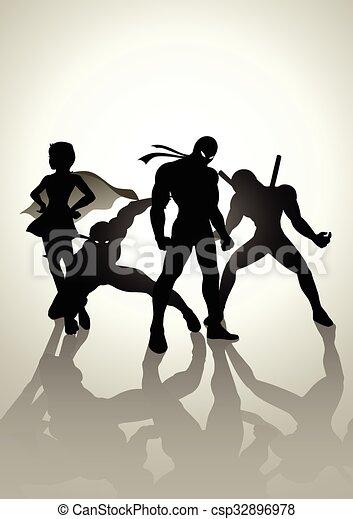 Superheroes Team Up - csp32896978