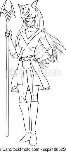 Superheroine Outline Illustration Of A Super Heroine Canstock