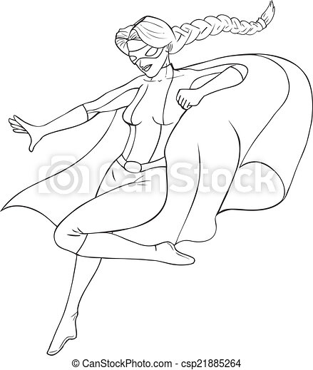 Superheroine contour illustration super heroine - Comment dessiner un super heros fille ...