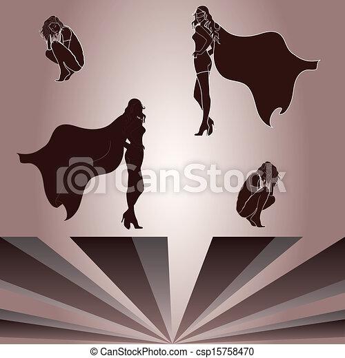 superheroine's, donna ombra, accoccolato, elementi - csp15758470