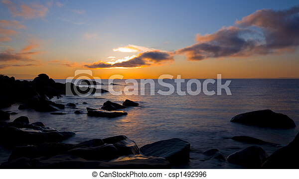 Superior Sunbeam from Cloud to Water to Stone - csp1492996