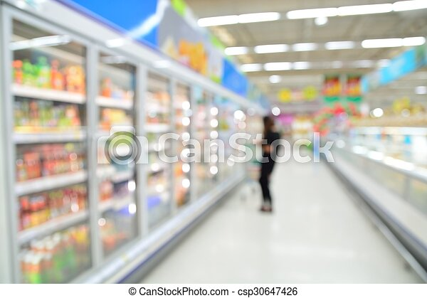 Supermarket blur background with bokeh, Miscellaneous Product shelf - csp30647426