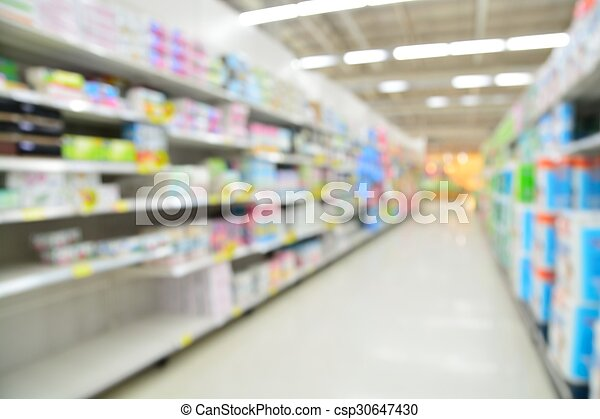 Supermarket blur background with bokeh, Miscellaneous Product shelf - csp30647430