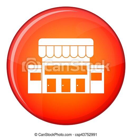 Supermarket building icon, flat style - csp43752991