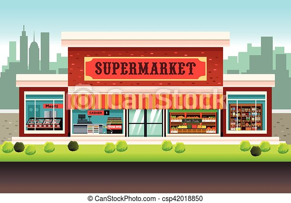 a vector illustration of a supermarket grocery store clipart vector rh canstockphoto com grocery store clipart images grocery store building clipart
