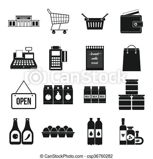 Supermarket icons set, simple style - csp36760282
