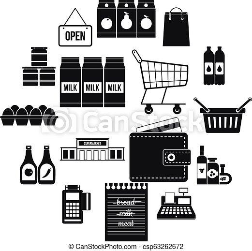 Supermarket icons set, simple style - csp63262672