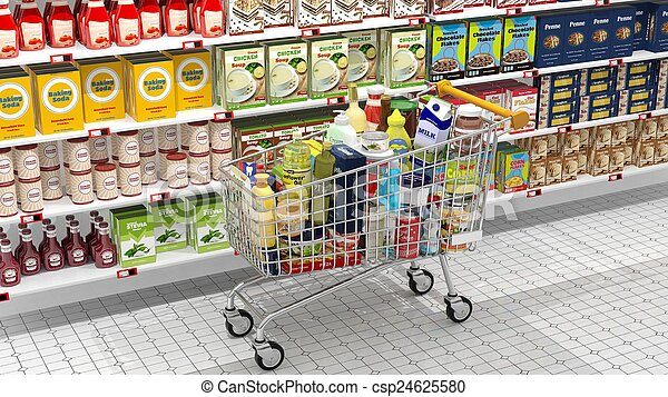 Supermarket interior and shopping cart with various products  - csp24625580