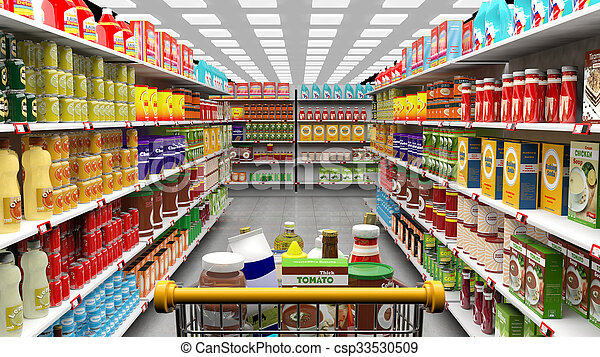 Supermarket interior, shelves with various products and full  trolley basket - csp33530509