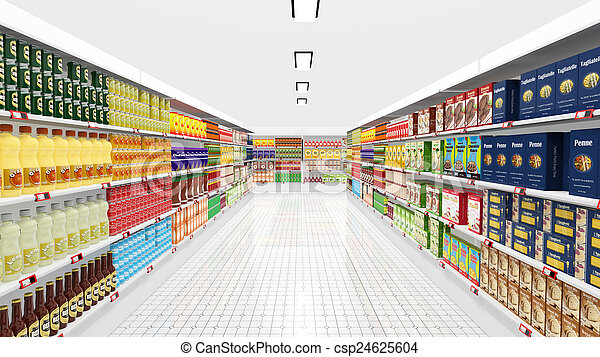 Supermarket interior with shelves and various products - csp24625604