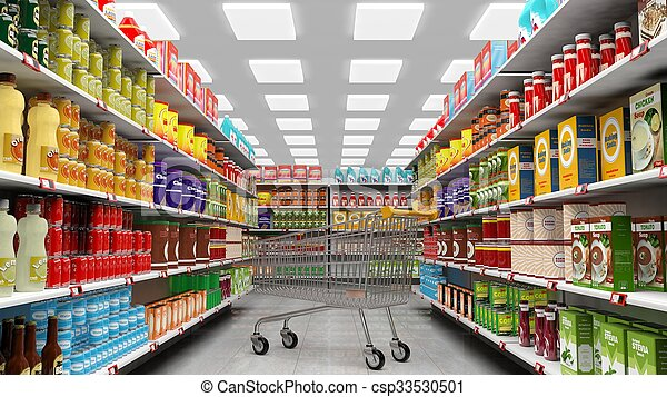 Supermarket interior with shelves full of various products and empty trolley basket - csp33530501