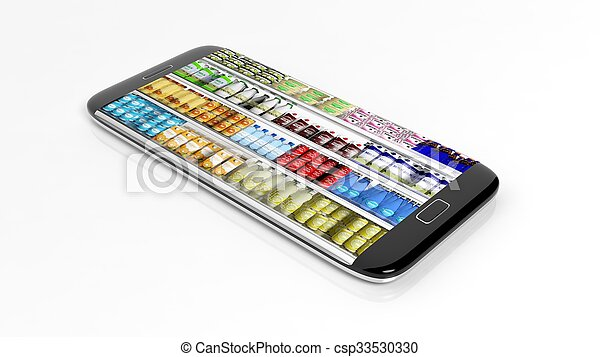 Supermarket refrigerator shelves with products on smartphone screen, isolated on white background. - csp33530330