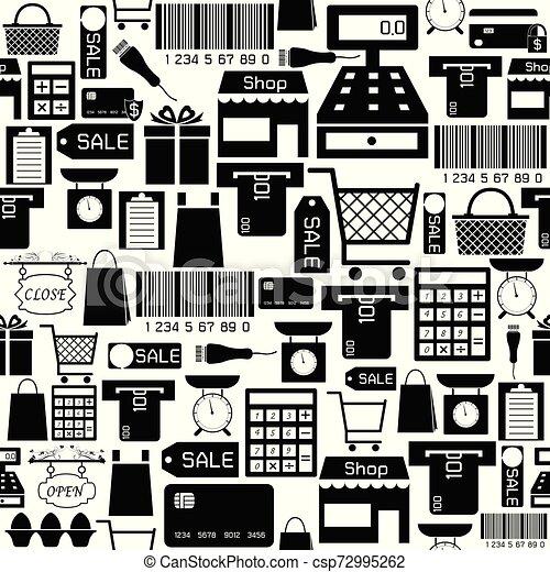 supermarket seamless pattern background icon. - csp72995262