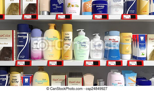Supermarket shelves with personal care products  - csp24849927