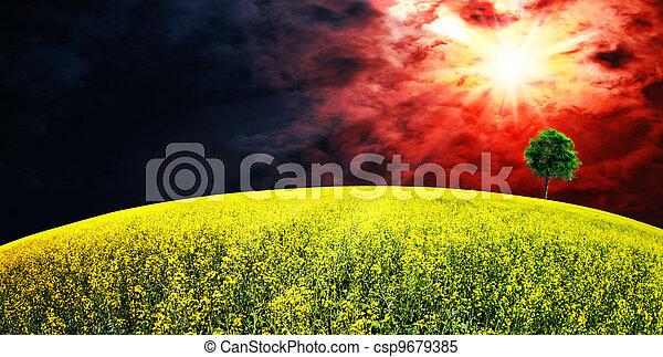 Supernova. Abstract summer rural landscape - csp9679385