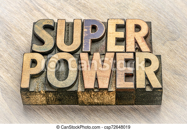 superpower word abstract in wood type - csp72648019