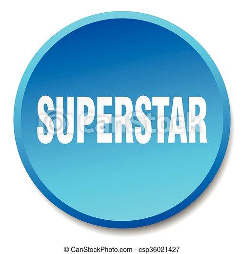 superstar blue round flat isolated push button - csp36021427
