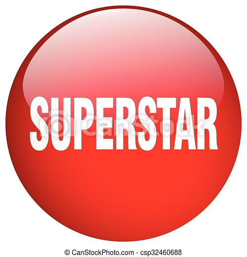 superstar red round gel isolated push button - csp32460688