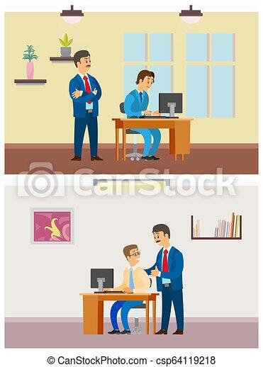 Jefe supervisor de nuevo trabajador por portátil, trabajo de oficina - csp64119218