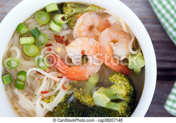 suppe, nudel, asiatisch, garnele - csp38207148
