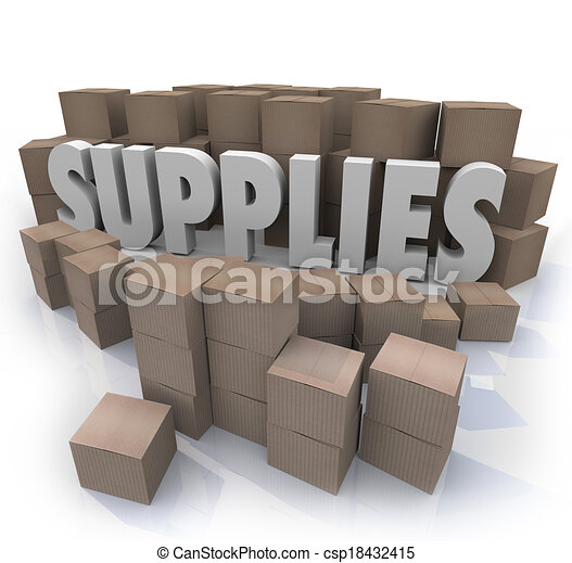 Supplies word in the middle of a stock room full of cardboard boxes containing food, materials, rations, reserves, and other needed resources - csp18432415