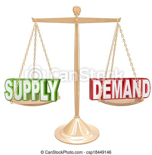 Supply and Demand Balance Scale Economics Principles Law - csp18449146