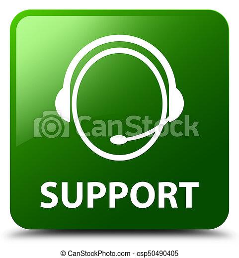 Support (customer care icon) green square button - csp50490405