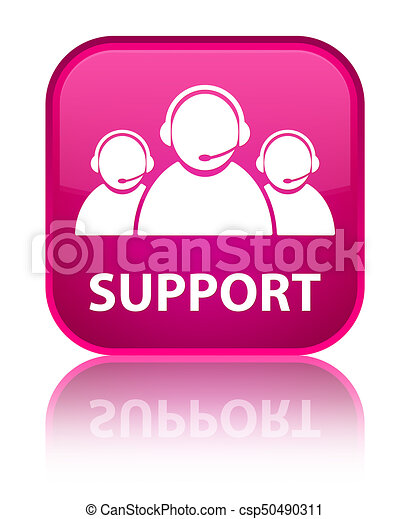 Support (customer care team icon) special pink square button - csp50490311