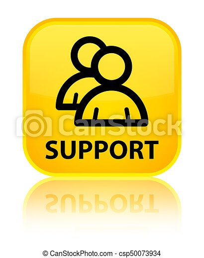 Support (group icon) special yellow square button - csp50073934