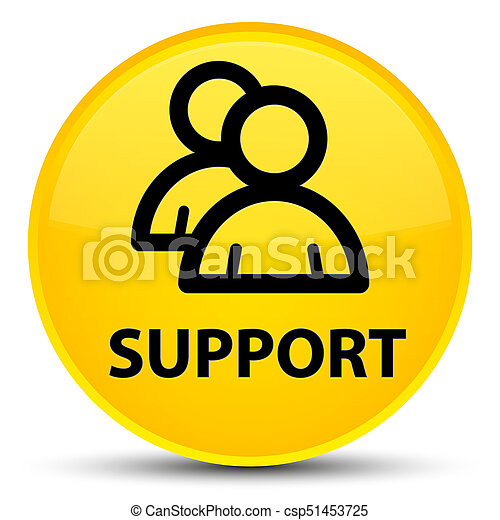 Support (group icon) special yellow round button - csp51453725