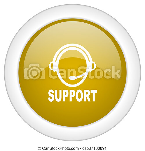 support icon, golden round glossy button, web and mobile app design illustration - csp37100891