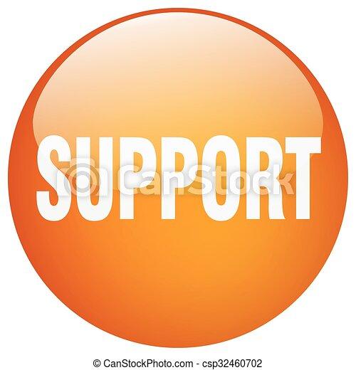 support orange round gel isolated push button - csp32460702