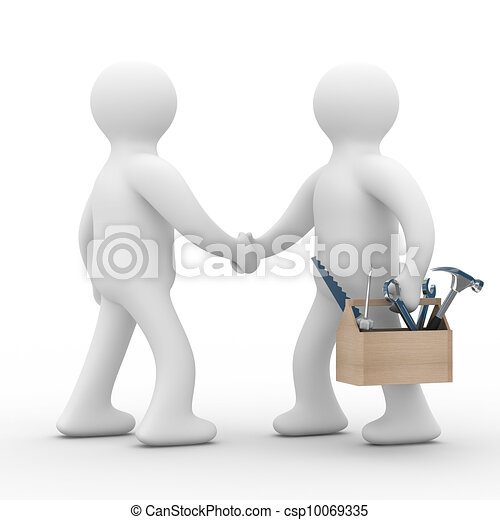 support., service., τεχνικός , εικόνα , απομονωμένος , γραμμή , 3d  - csp10069335