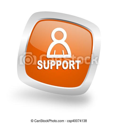 support square orange glossy chrome silver metallic web icon - csp40074138