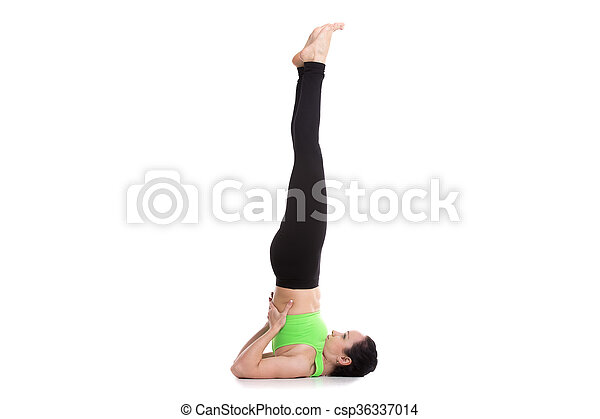 supported shoulderstand yoga asana beautiful sporty girl